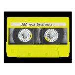 Cinta de casete adaptable de neón amarilla tarjetas postales