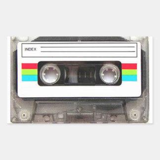 cinta de casete de los años 80 pegatina rectangular