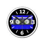 Cinta de casete de neón azul relojes de pared