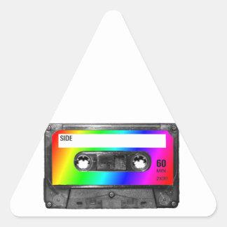 Cinta de casete del arco iris pegatina triangular