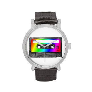 Cinta de casete del arco iris relojes
