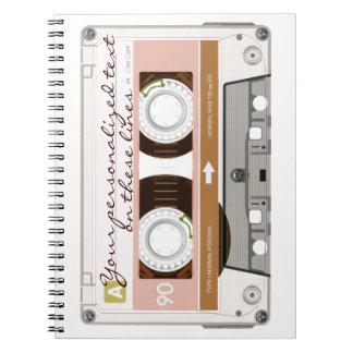 Cinta de casete - moreno - libro de apuntes con espiral