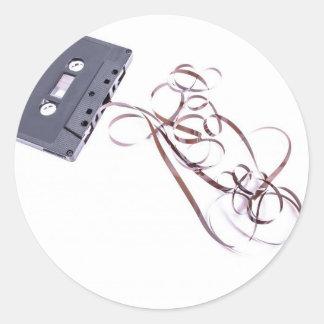 cinta de casete negra pegatina redonda