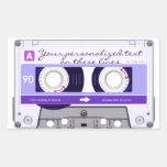 Cinta de casete - púrpura - rectangular pegatina