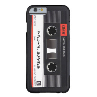 Cinta de casete retra de encargo funda para iPhone 6 barely there