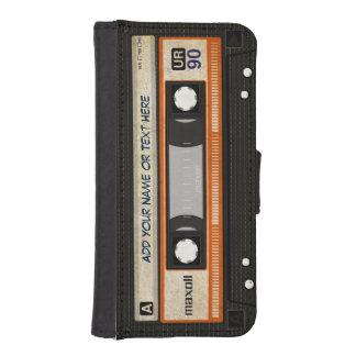 Cinta de casete retra divertida de música del fundas cartera de iPhone 5