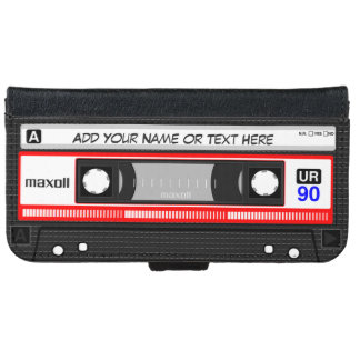 Cinta de casete retra divertida de música funda cartera para iPhone 6