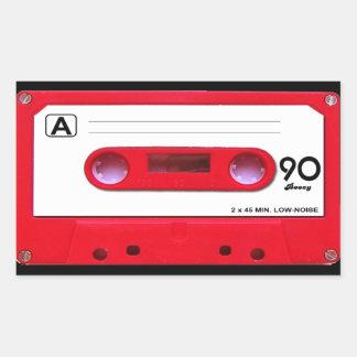 Cinta de casete roja pegatina rectangular