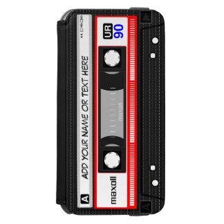 Cinta de casete roja retra de música de los años funda cartera para iPhone 6 watson