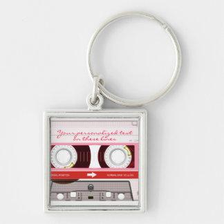 Cinta de casete - rojo - llavero personalizado
