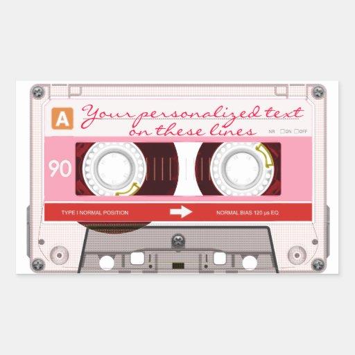 Cinta de casete - rojo - pegatina rectangular