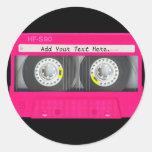 Cinta de casete rosada femenina adaptable etiqueta redonda