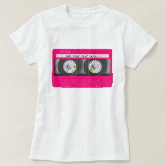 Cinta de casete rosada femenina adaptable playera
