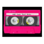 Cinta de casete rosada femenina adaptable tarjeta postal