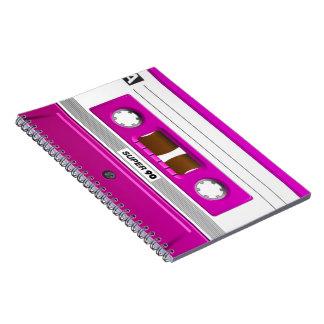 Cinta de casete rosada libros de apuntes con espiral