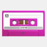 Cinta de casete rosada pegatina rectangular