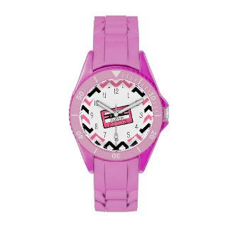 Cinta de casete rosada y reloj personalizado Chevr
