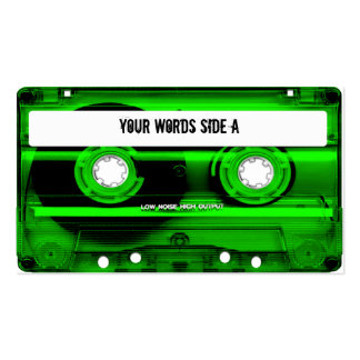 Cinta de casete verde personalizada tarjetas de visita