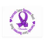 Cinta de corazones - conciencia del cáncer pancreá tarjeta postal