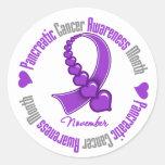 Cinta de corazones - conciencia del cáncer etiqueta redonda