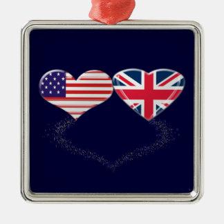 Cinta de la bandera y de teletipo de los corazones ornato