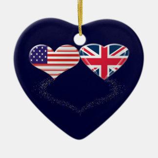 Cinta de la bandera y de teletipo de los corazones ornaments para arbol de navidad