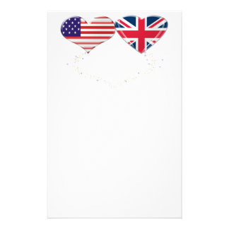 Cinta de la bandera y de teletipo de los corazones papeleria