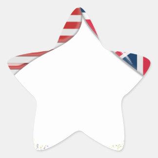 Cinta de la bandera y de teletipo de los corazones calcomanía forma de estrella
