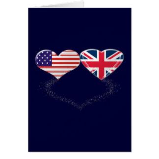 Cinta de la bandera y de teletipo de los corazones tarjetón