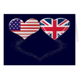 Cinta de la bandera y de teletipo de los corazones tarjeton