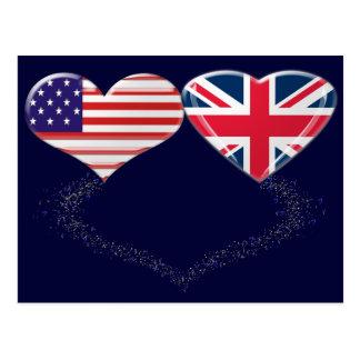 Cinta de la bandera y de teletipo de los corazones postales