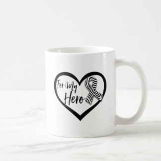 Cinta de la conciencia de la cebra para mi héroe taza