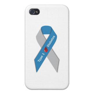 Cinta de la conciencia de la diabetes del tipo 1 iPhone 4/4S fundas