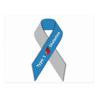 Cinta de la conciencia de la diabetes del tipo 1 tarjetas postales