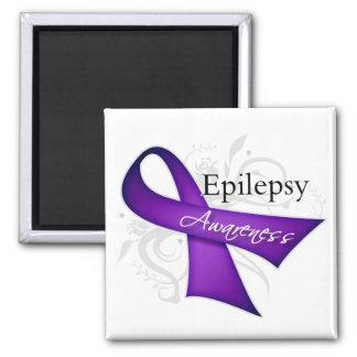 Cinta de la conciencia de la epilepsia imán cuadrado