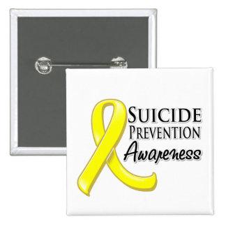 Cinta de la conciencia de la prevención del suicid pin cuadrado