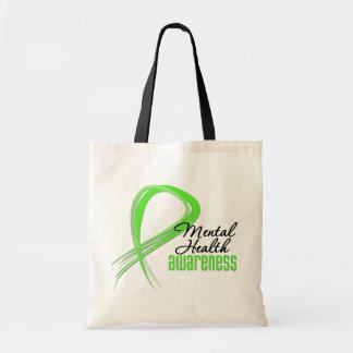Cinta de la conciencia de la salud mental bolsas de mano