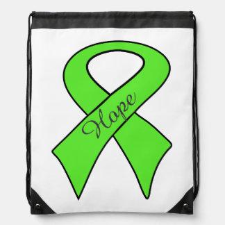 Cinta de la conciencia de la verde lima de la mochila
