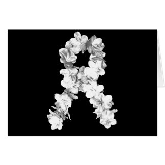 Cinta de la conciencia de las flores blancas tarjeton