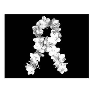 Cinta de la conciencia de las flores blancas tarjetas postales
