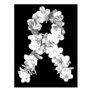 Cinta de la conciencia de las flores blancas tarjeta postal