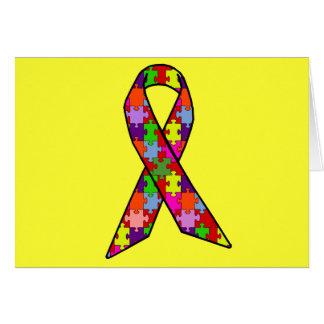 Cinta de la conciencia del autismo en modelo del tarjeta de felicitación