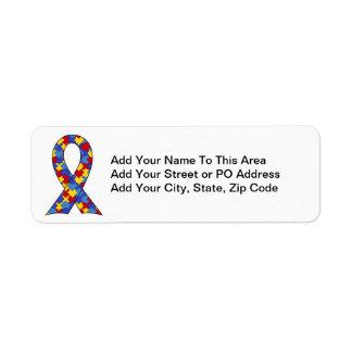 Cinta de la conciencia del autismo etiquetas de remite