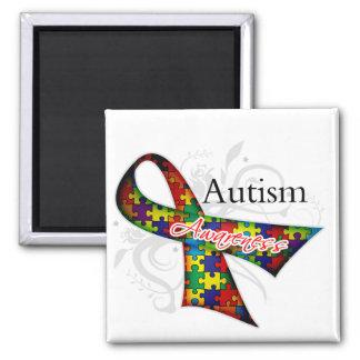 Cinta de la conciencia del autismo imán cuadrado