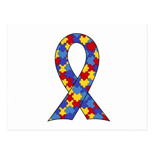 Cinta de la conciencia del autismo postales