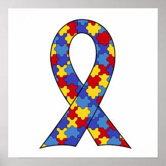 Cinta de la conciencia del autismo póster
