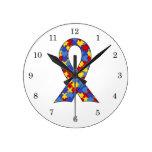Cinta de la conciencia del autismo relojes de pared