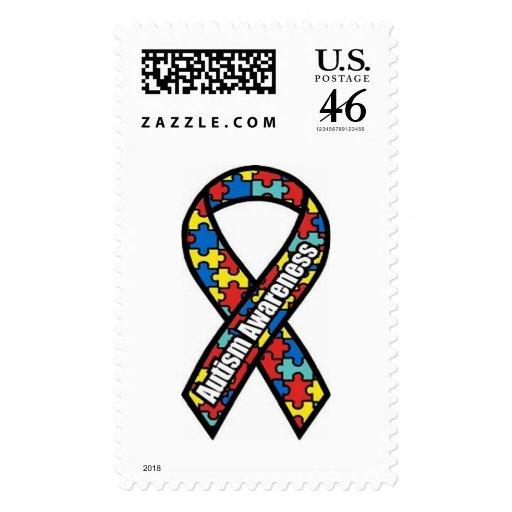 Cinta de la conciencia del autismo sello