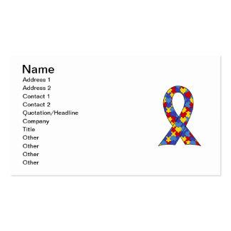 Cinta de la conciencia del autismo tarjetas de visita