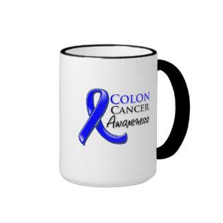 Cinta de la conciencia del cáncer de colon tazas
